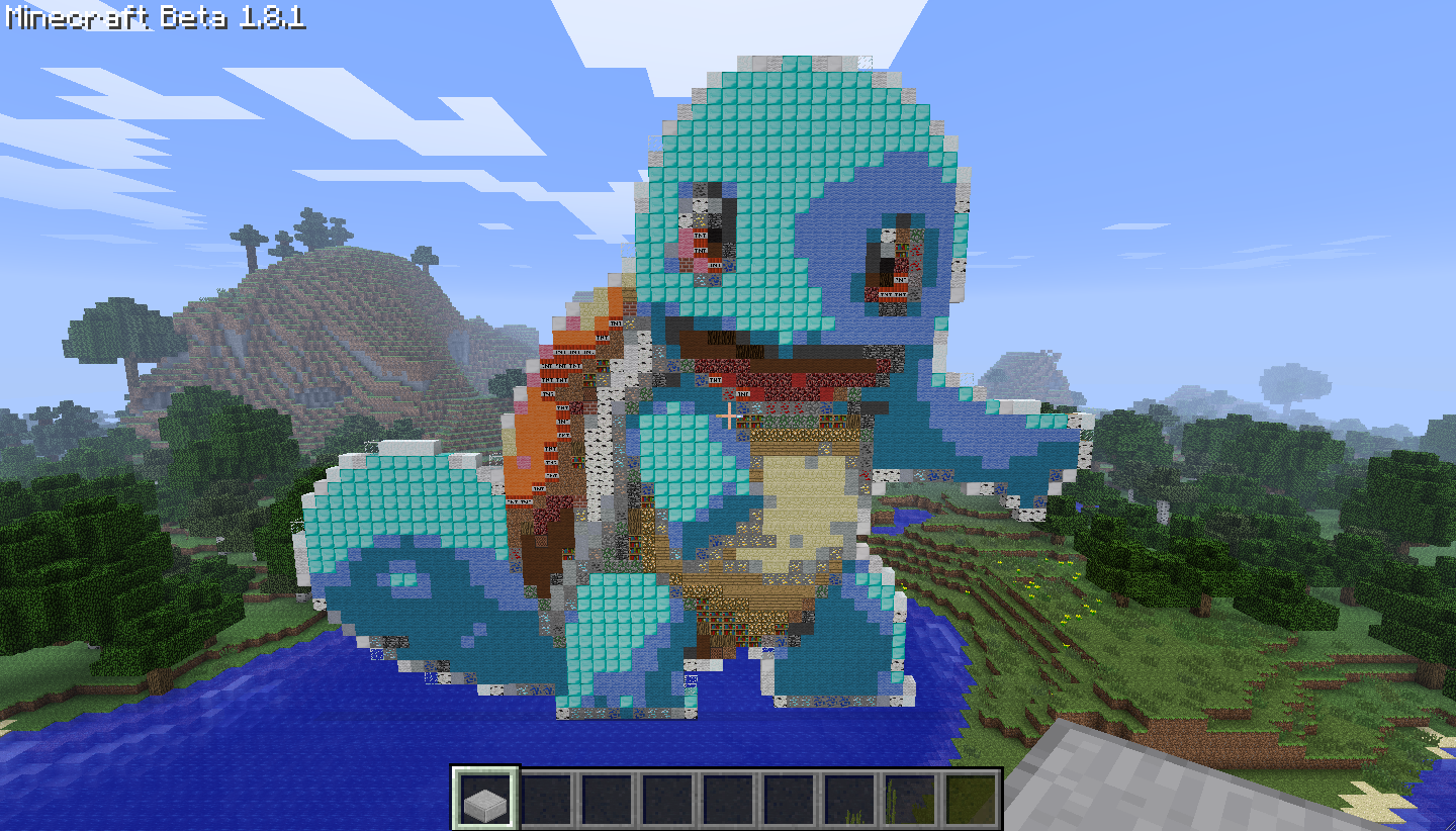 Pokemon Number 007  Squirtle by IjsklontjeeeMinecraft Pokemon Pixel Art Blueprints