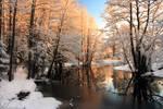 Winter river sunrise light by RomGams