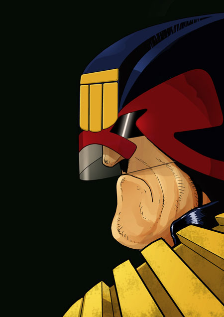 Dredd, Photoshop line and colour experiment by JeremyWDunn