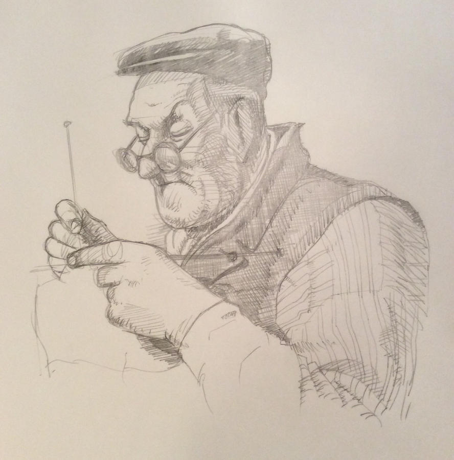 Old man knitting by JeremyWDunn