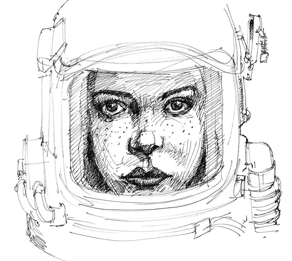 Girl in a spacesuit by JeremyWDunn