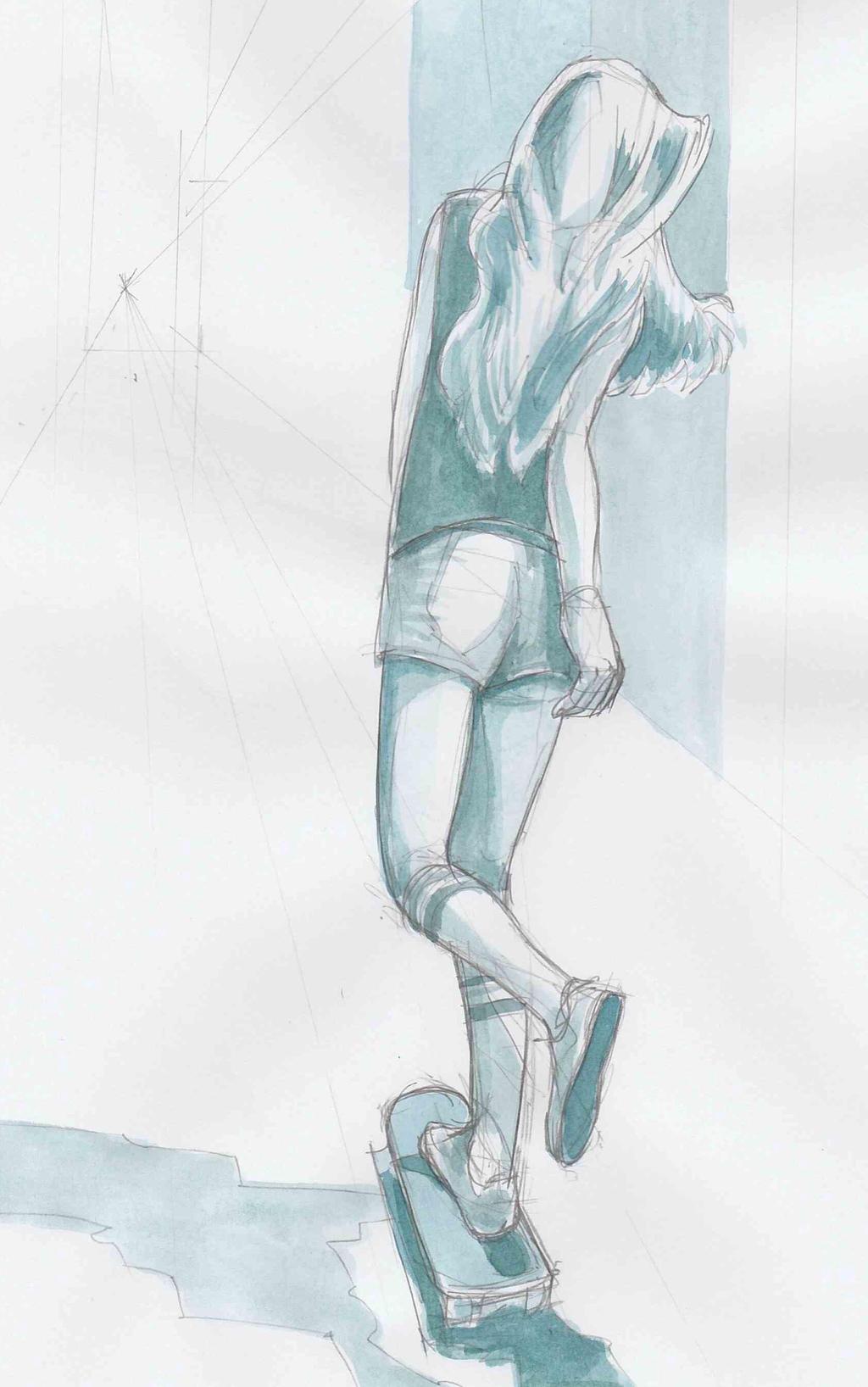 Watercolour skateboarder by JeremyWDunn