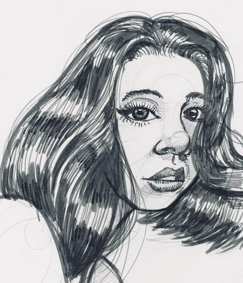 Girl, Sharpie sketch by JeremyWDunn