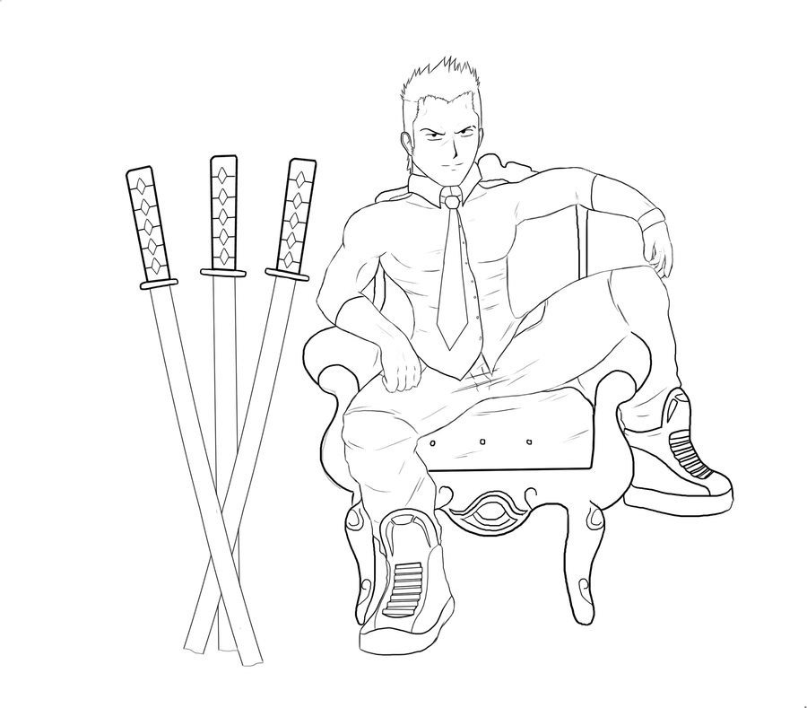Zoro Roronoa Today - Lineart by FearEffectInferno