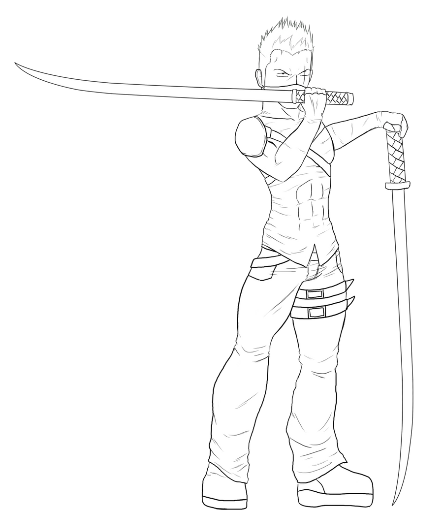 Zoro Lineart : Ninja zoro roronoa lineart by feareffectinferno on