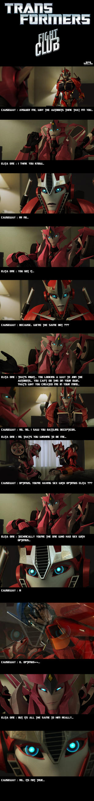 Causeway as the Narrator and Elita as Tyler Durden by JPL-Animation