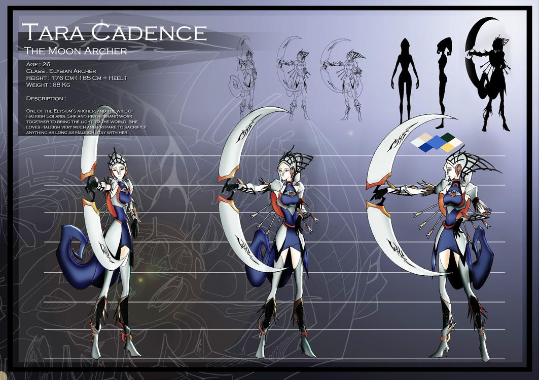 Tara Cadence Character Sheet ( The Moon Archer ) by JPL-Animation