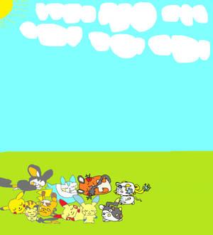 the pikachu family sleeping in the sun