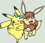 my pikachu, ellie and my eeveesona, tamami