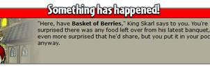 king skarl gives evelyn a basket of berries