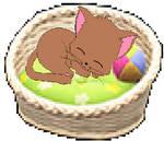 Animal crossing NH - honoka sleeping in her basket