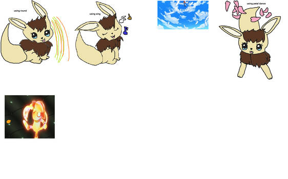 my eevee-sona, tamami, using some of her moves