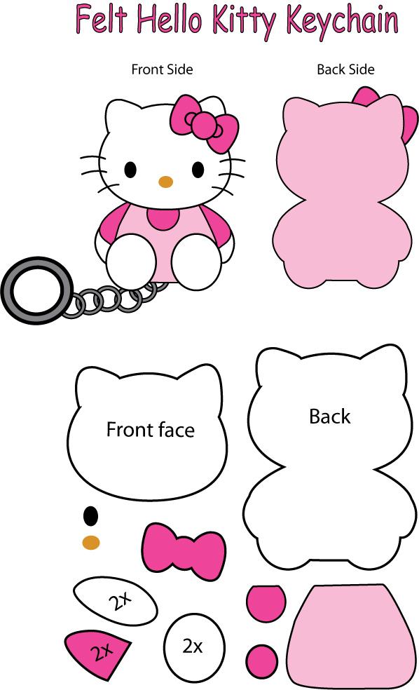 Hello Kitty felt Keychain by Mokulen22
