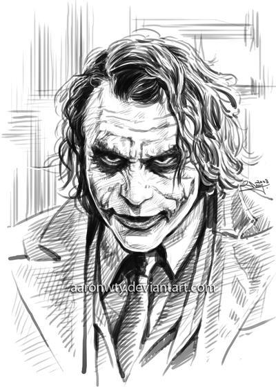 The Joker Line Art : Heath ledger as the joker by aaronwty on deviantart