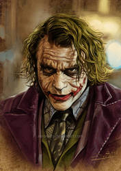 Heath Ledger's JOKER by aaronwty