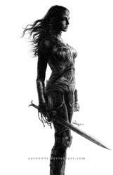 Wonder Woman - Gal Gadot - Black and White