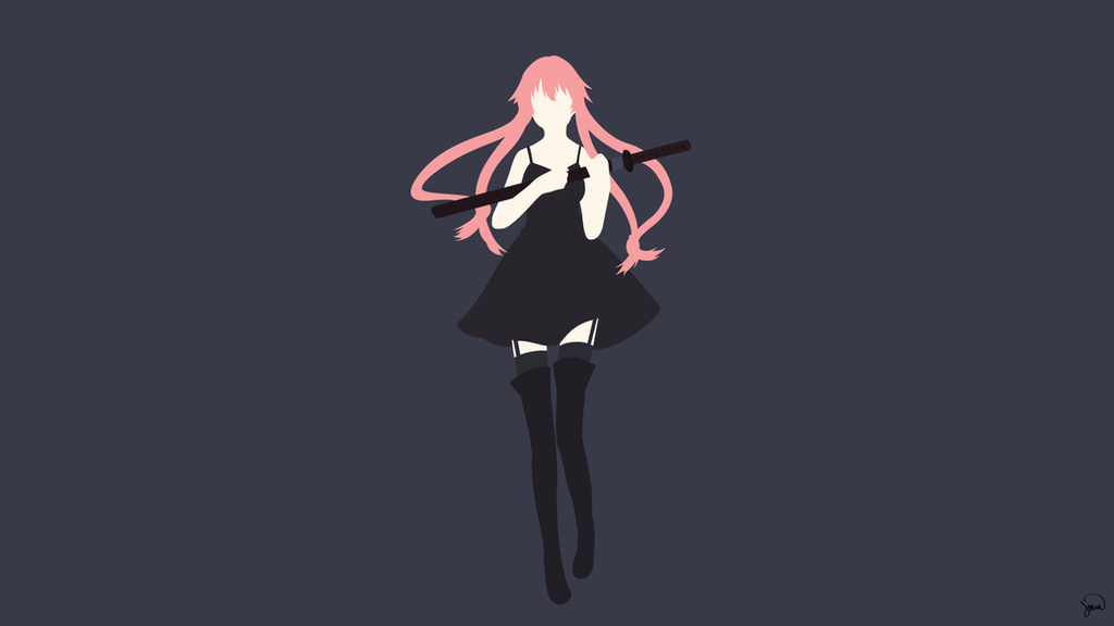 Gasai Yuno Wallpaper: Gasai Yuno V3 (Mirai Nikki) Minimalist Wallpaper By