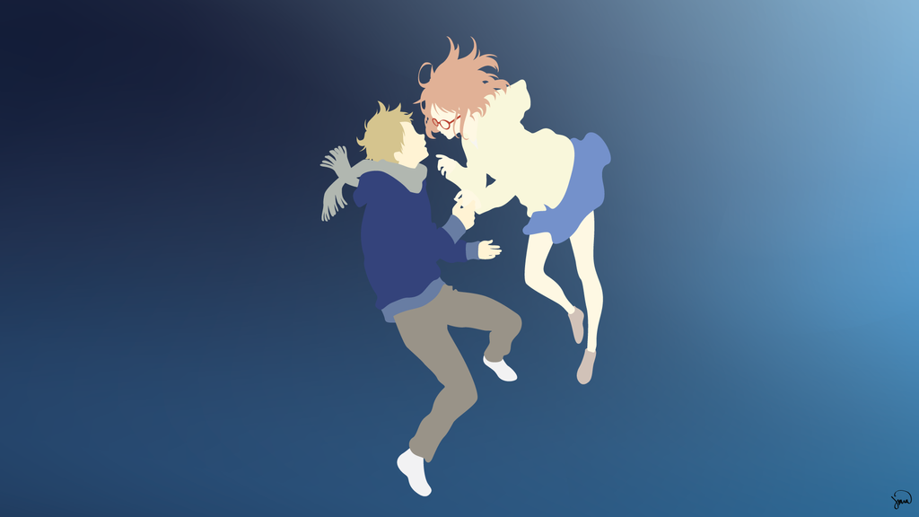 Kyoukai no kanata minimalist wallpaper by greenmapple17 on for Deviantart minimal wallpaper