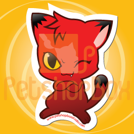 Stiker Kucing Merah 'Pose' by petshop-studio