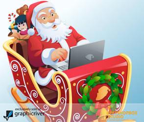 Santa in Sleigh by petshop-studio