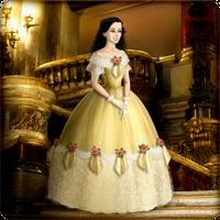 Roxanne in yellow ballgown by Arrelline