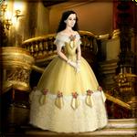 Roxanne in yellow ballgown