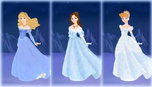 Aurora, Belle and Cinderella in blue