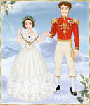 Queen Victoria and Prince Albert in wedding attire