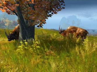 Wolly Rhino in North Grassland