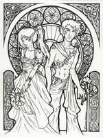 Celtic Nouveau - Lineart by laiquendi-elf