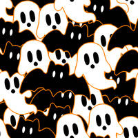 F2U - Halloween - Bats and Ghosts Tile by SpoodleButt