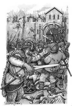 Sebastian Illustration Belagring Test Med Bakgru