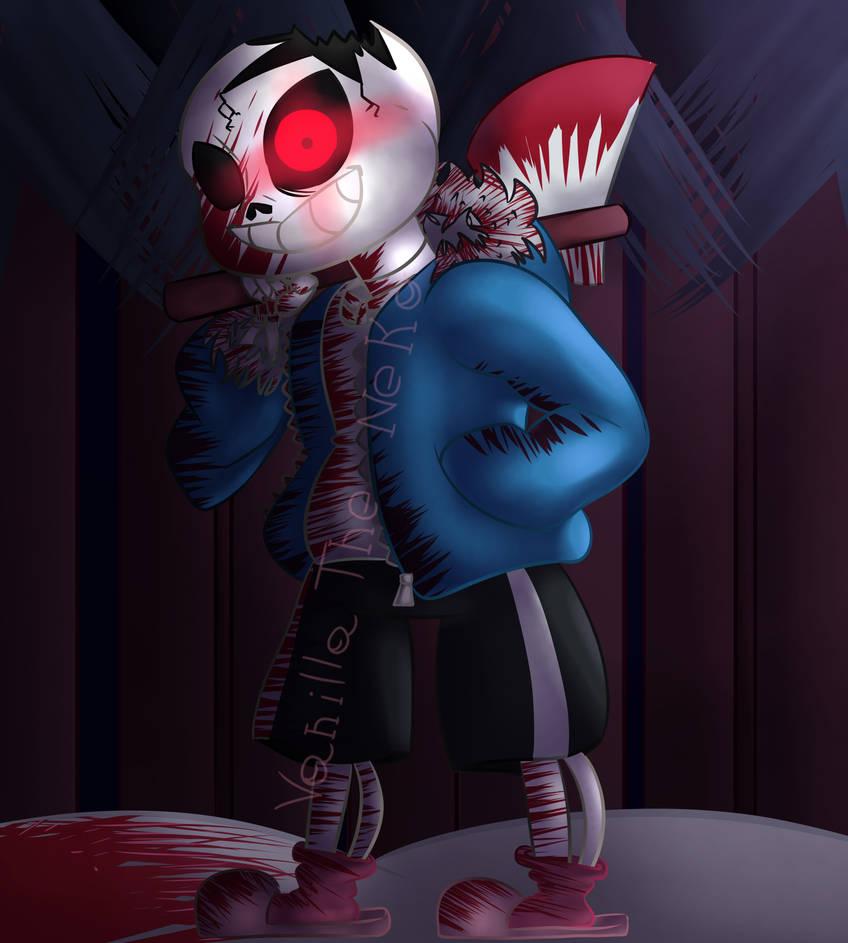 Horrortale sans (blood warning!) by Vanilla-The-Neko on