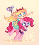 Star Butterfly and Pinkie Pie by Avonir