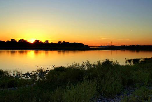 Sunset at Vistula river