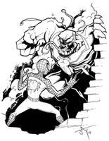 Spidey vs Venom pen and ink by Jayson-kretzer