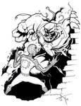 Spidey vs Venom pen and ink