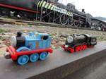 Thomas and Hiro at the Takao Railway Museum
