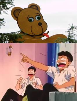 Mitsui and Miyagi laughing at the Bear