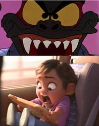 Baby Moana is frightened by Fidget's second burst