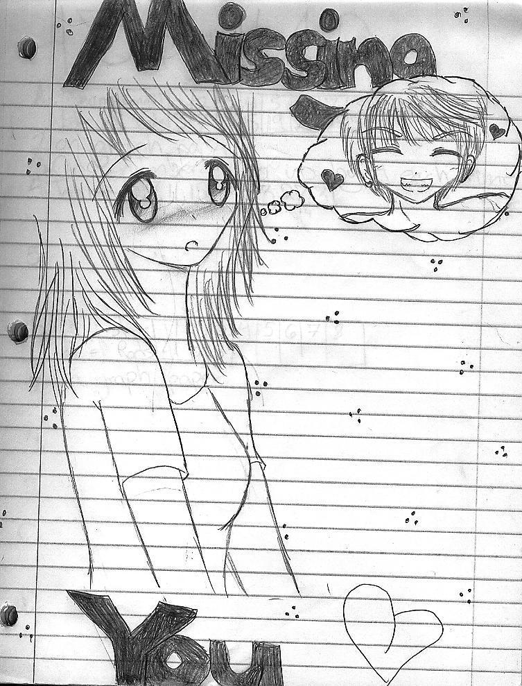 kawaii anime girl. Missing You kawaii anime girl
