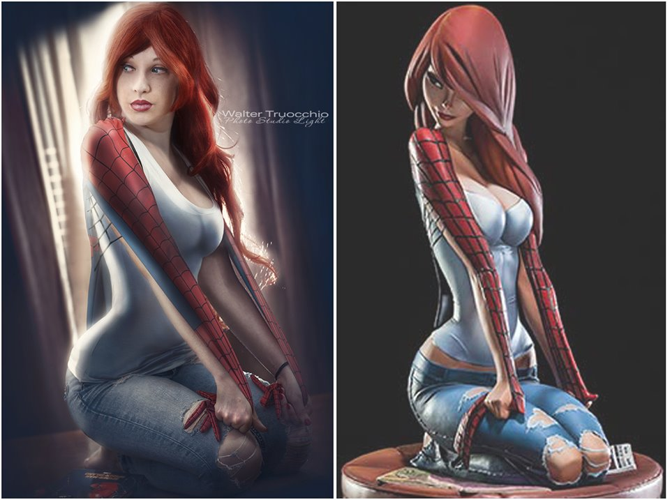 Too sexy? Spider-Man girlfriend MJ Mary Jane statue - YouTube