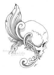 Fine skull tattoo design.