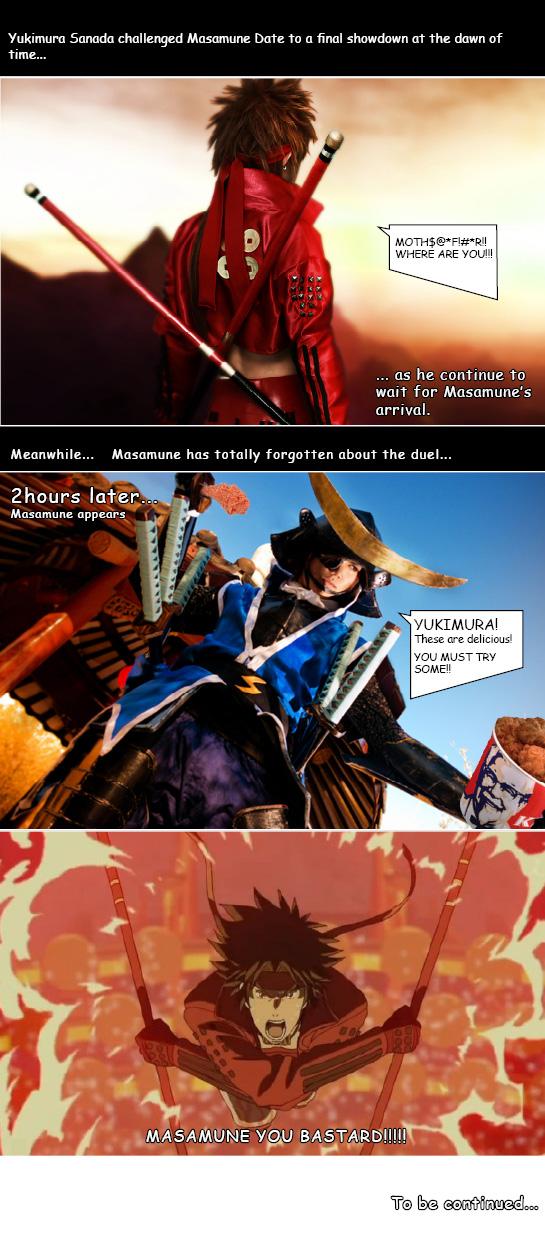 Sengoku Basara: Yukimura and Masamune Funny Fight by RaikouCos