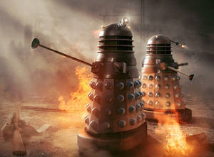 Dalek scene from 'Masters of Earth' cover image