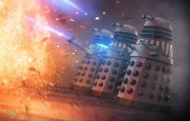 Renegade Daleks blasting at something by AntLamb