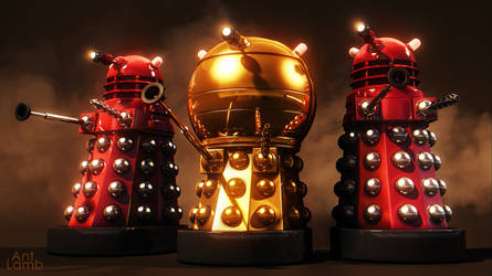 TV21-style Dalek Emperor and Red Daleks by AntLamb