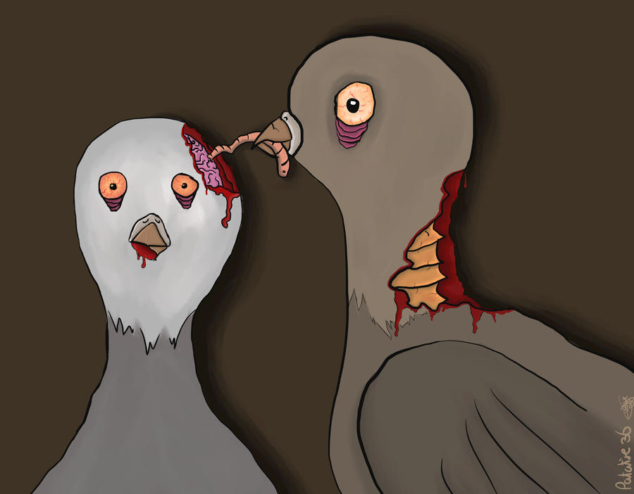 Zombie pigeons by Patatje36
