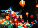 Neon Pagoda and Lanterns