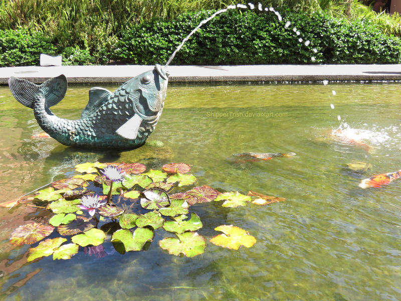 Koi pond fountain by shippertrish on deviantart Pond with fountain